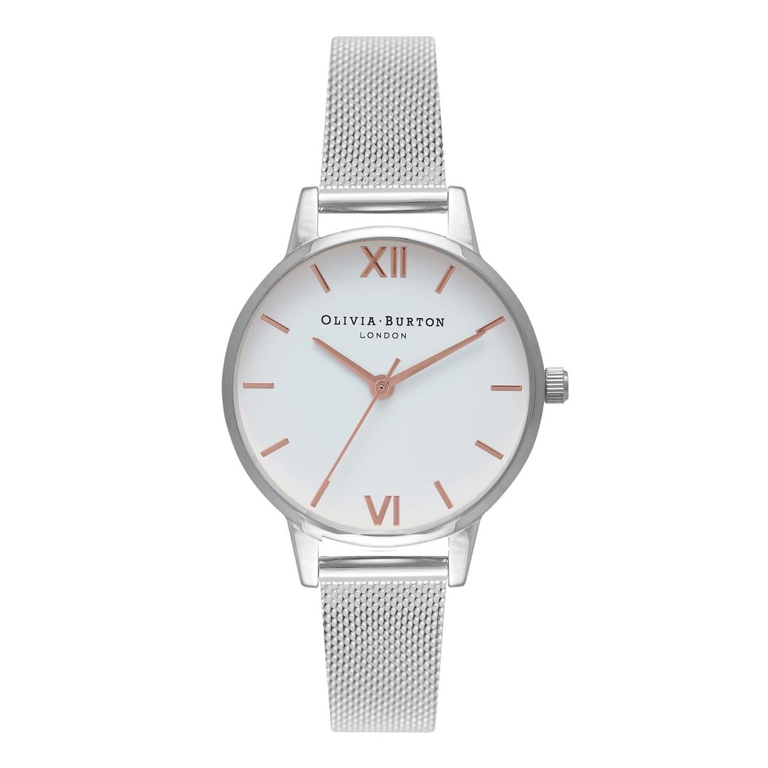 Olivia Burton Ladies Midi White Dial with Silver Mesh Watch OB16MDW22