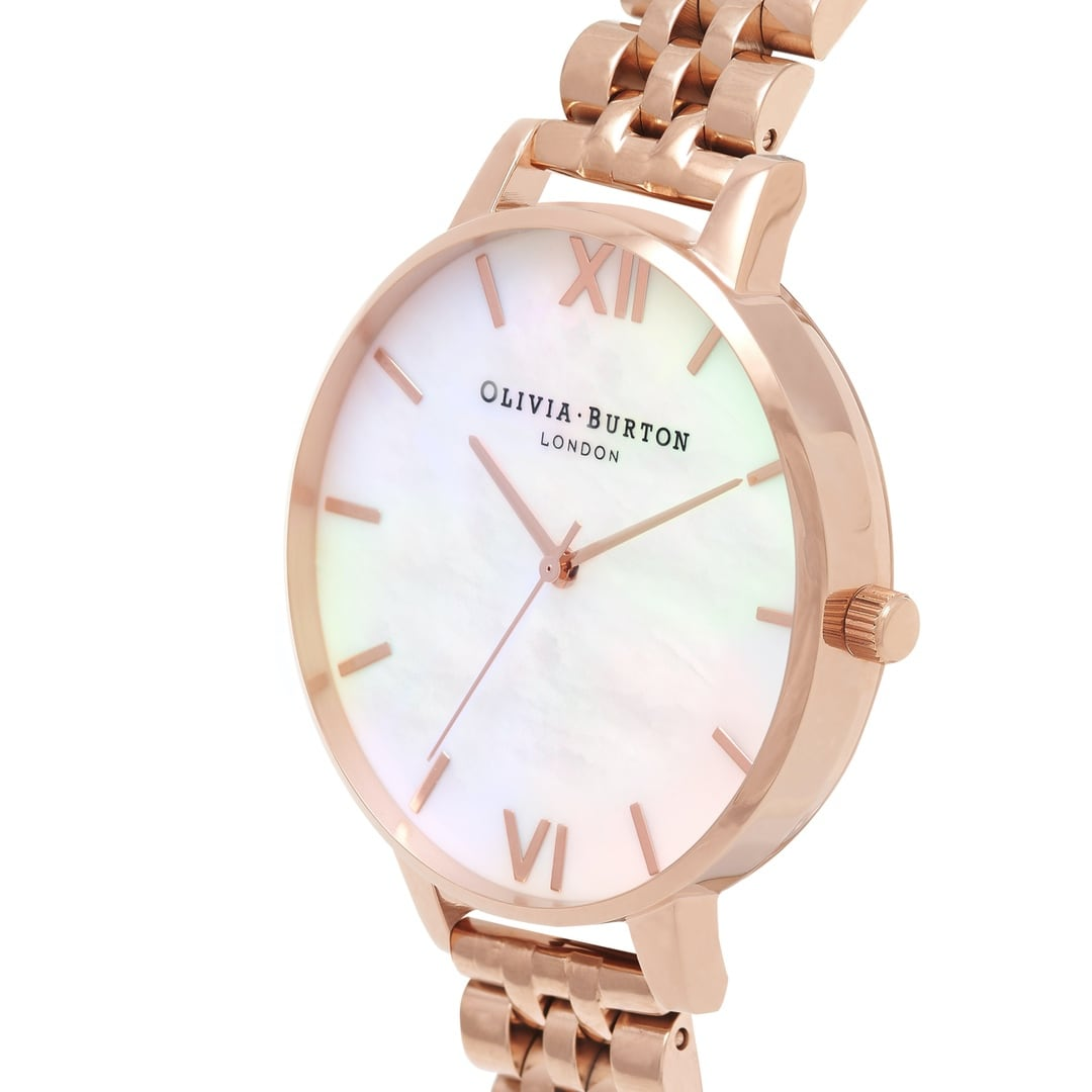 Olivia Burton Ladies White Mother of Pearl Rose Gold Watch OB16MOP03