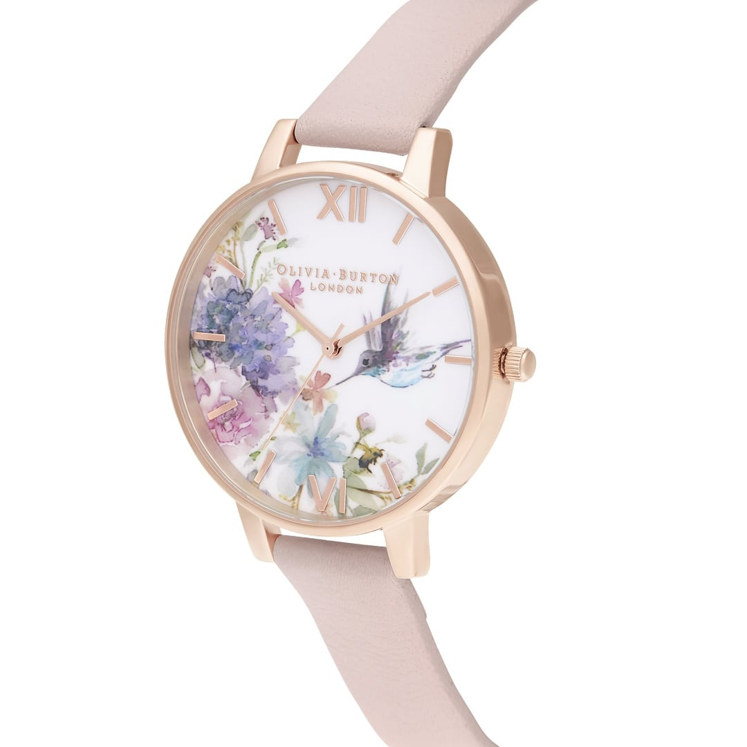Olivia Burton Ladies Hummingbird Painterly Prints Pink Rose Gold Watch OB16PP44