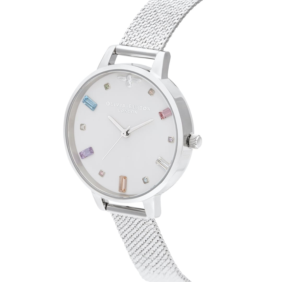 Olivia Burton Ladies Swarovski Rainbow Bee Demi with Boucle Mesh Silver Watch OB16RB10