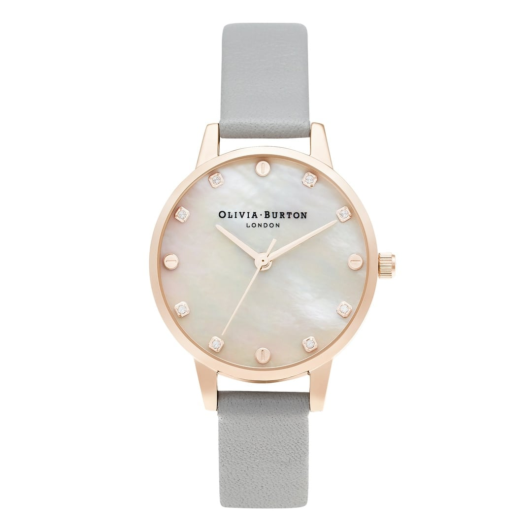 Olivia Burton Ladies Mother Of Pearl Dial with Grey Leather Strap Rose Gold Watch OB16SE12