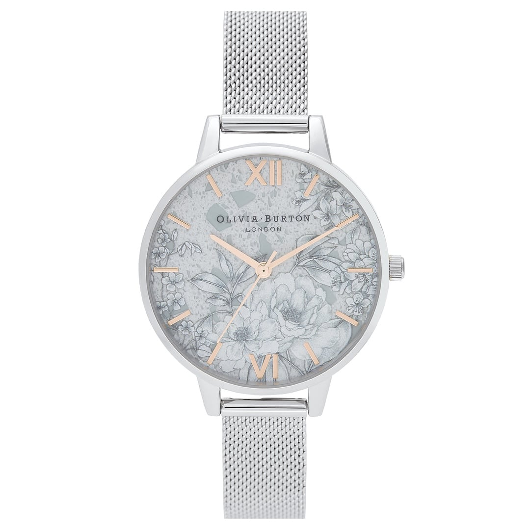 Olivia Burton Ladies Silver Plated Terrazzo with Florals and Silver Mesh Watch OB16TZ06
