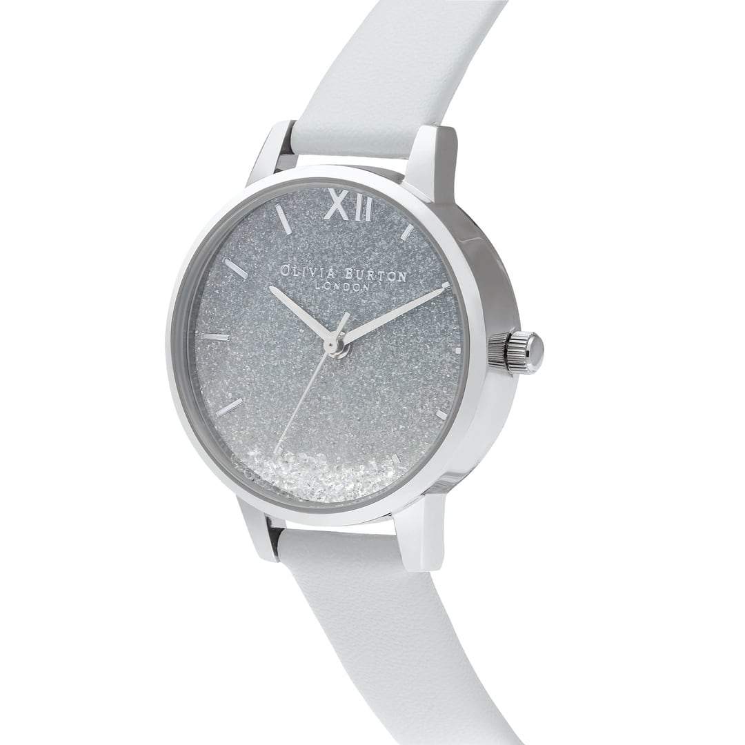 Olivia Burton Ladies Wishing Swarovski Glitter with Eco Light Grey Silver Watch OB16US27