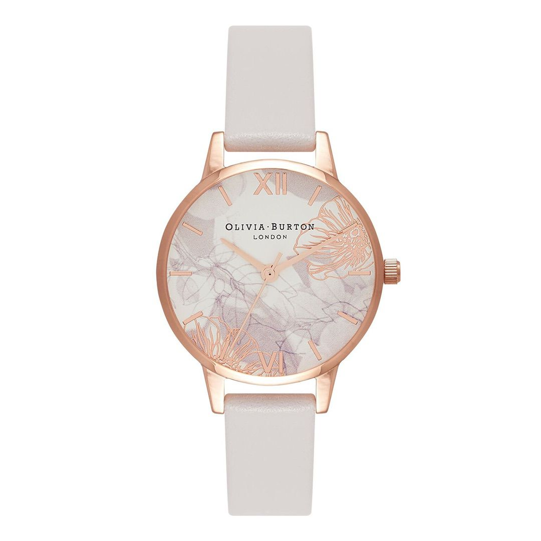 Olivia Burton Ladies Abstract Florals with Blush Leather Strap Rose Gold Watch OB16VM12