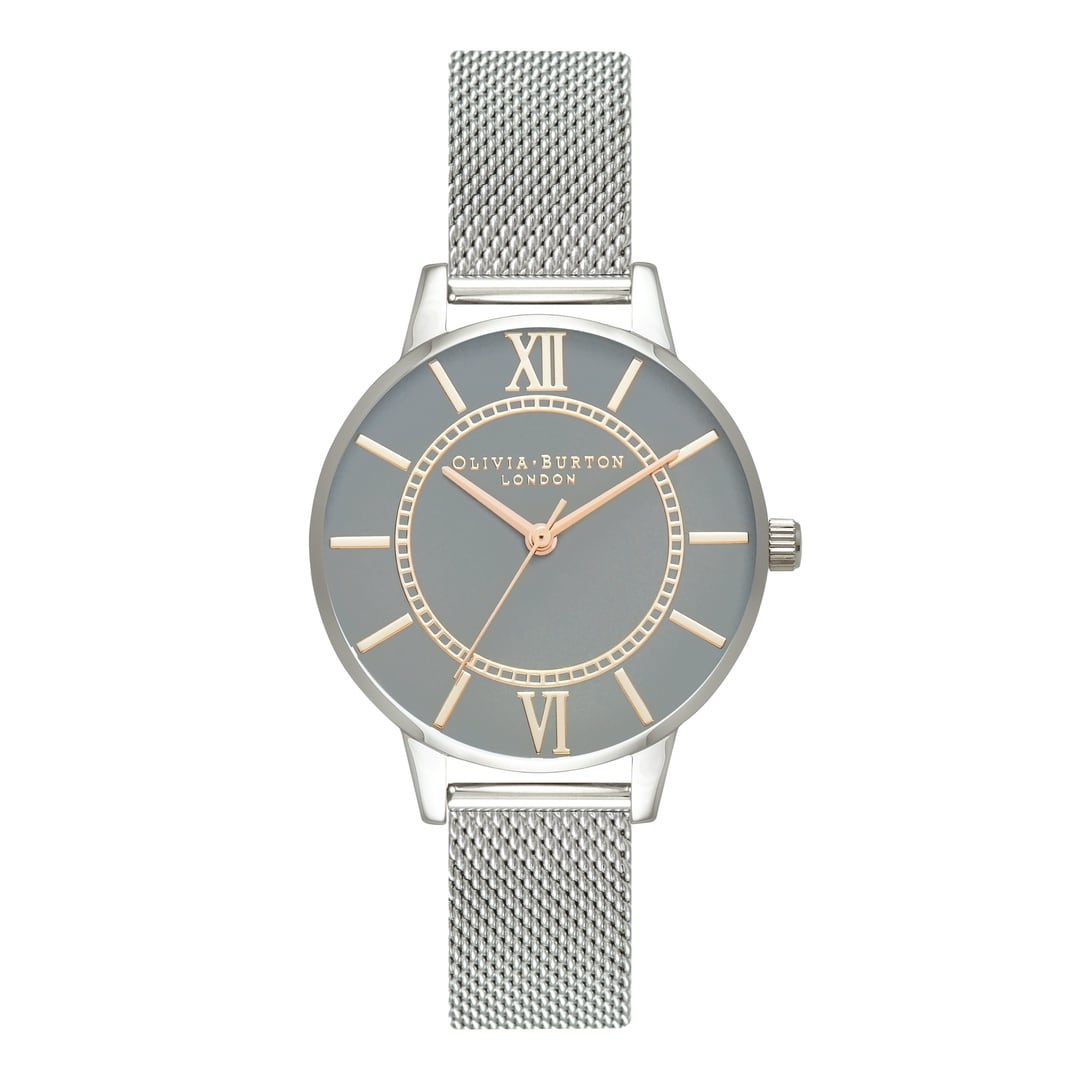 Olivia Burton Ladies Wonderland Grey Dial with Silver Mesh Watch OB16WD86