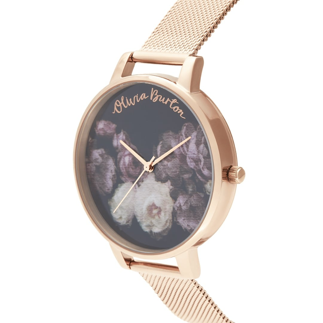 Olivia Burton Ladies Floral Fine Art Dress Rose Gold Watch OB16WG22
