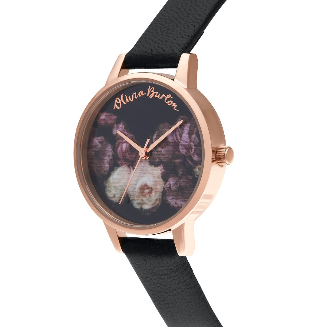 Olivia Burton Ladies Fine Art Black with Black Leather Strap Rose Gold Watch OB16WG68