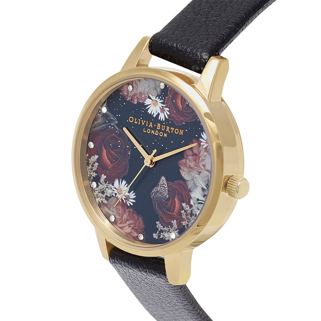 Olivia Burton Ladies Winter Floral Blooms & Stone with Black Leather Strap Watch OB16WG74
