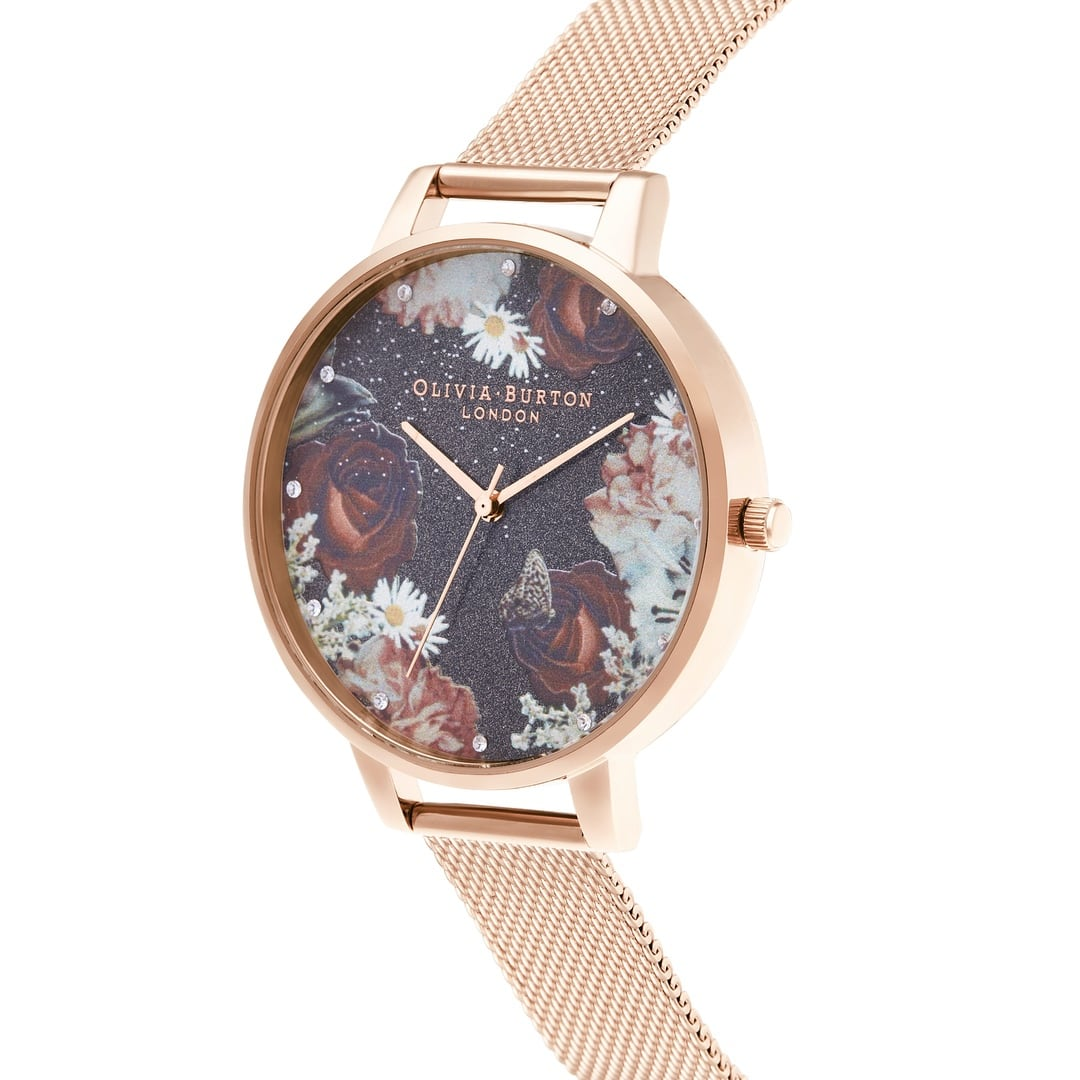 Olivia Burton Ladies Winter Blooms Black & Floral & Stone Rose Gold Watch OB16WG80