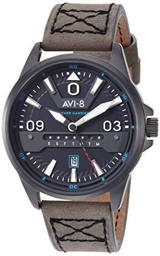 AVI-8 Men's Hawker Harrier II Stainless Steel Japanese-Quartz Aviator Watch with Leather Strap, Grey, 21.5 (Model: AV-4063-03)