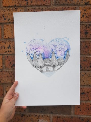 A3 Original Watercolour - Kiln Heart