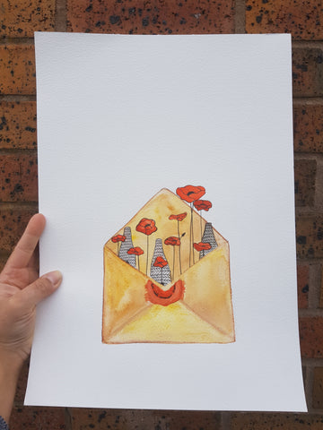 A3 Original Watercolour - Poppy Envelope
