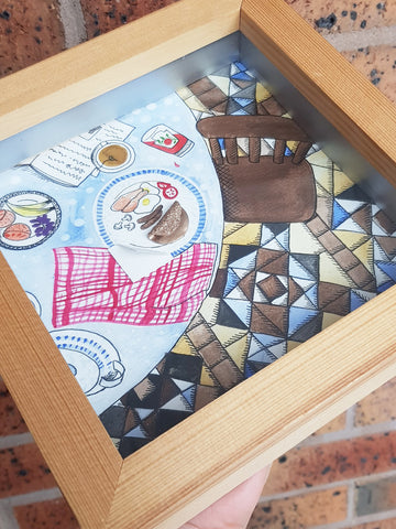 18.5cm Square Watercolour Box Frame - Kitchen Table