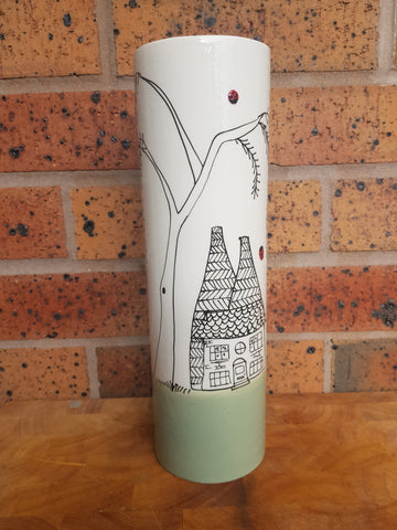 Textured Tall Ladybirds and kilns Cylindrical Vase