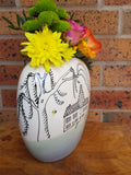 Blue & Pearl Grey Bees and Kilns Flat Pillow Vase