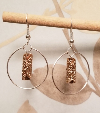 Bronze Oatcake Earrings Rolled Silver Hoops