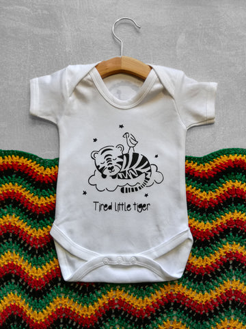 Tired Little Tiger Baby Vest