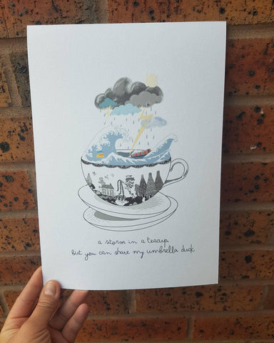 Storm in a teacup 'umbrella' print
