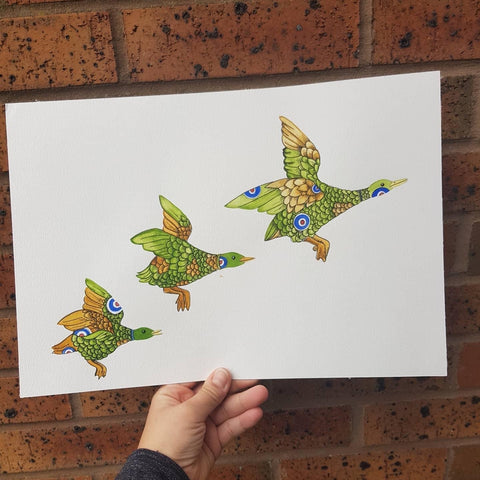 Original 3 ducks watercolour painting