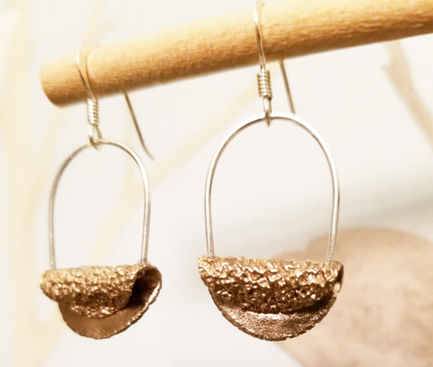 Bronze Oatcake Earrings Halved Silver Hoops