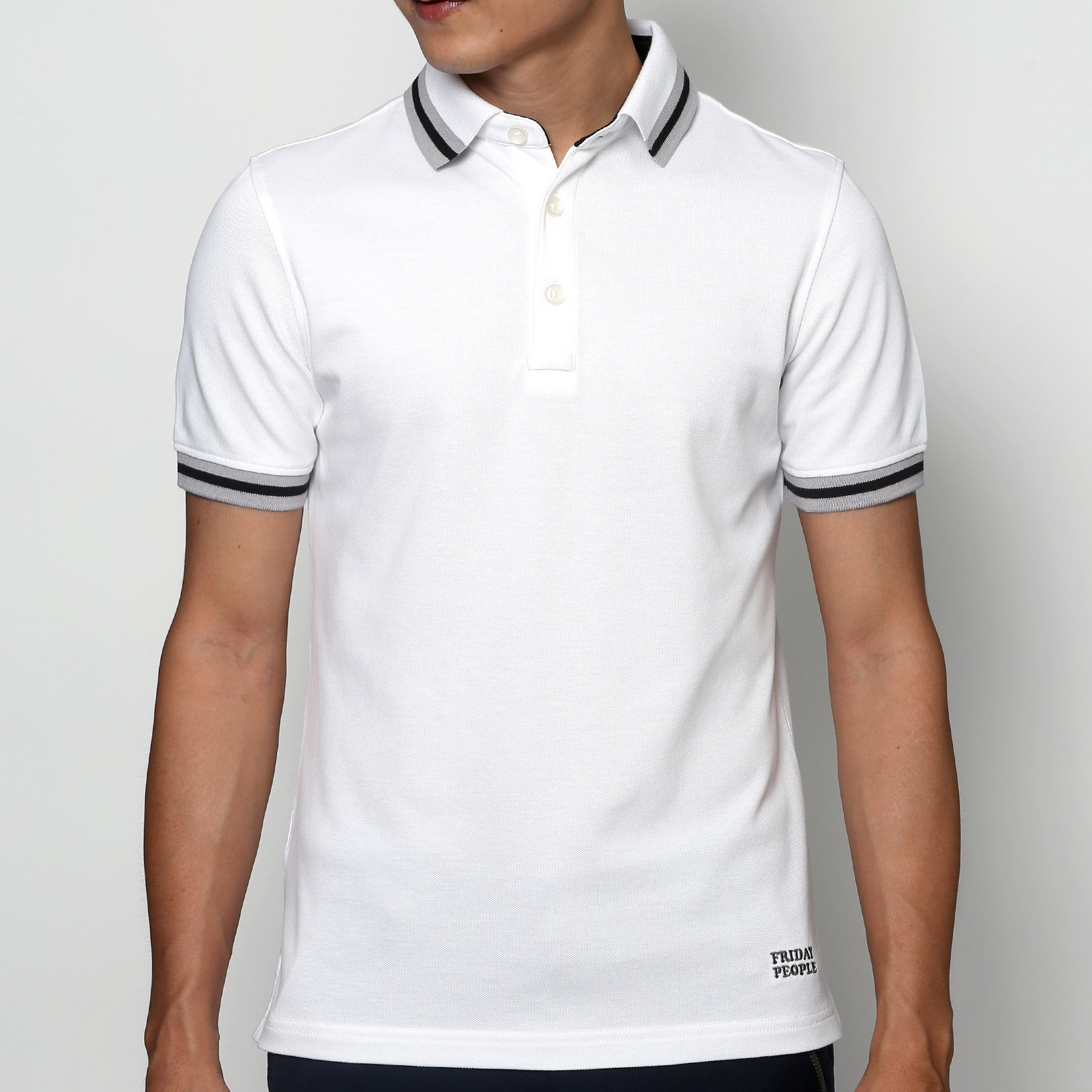 Active Polo - White Stripe