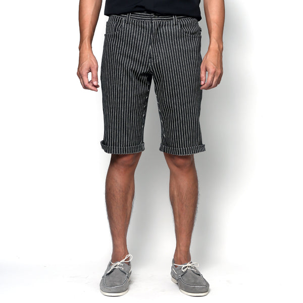 Urban Shorts - Black Stripe Denim