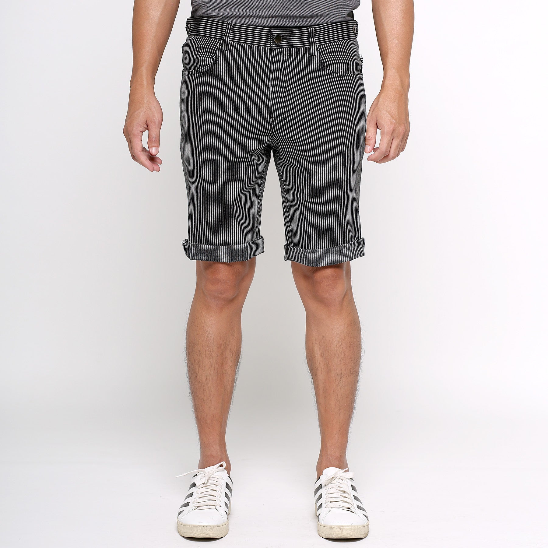 urban shorts travel cycling japan bangkok menswear stripe denim