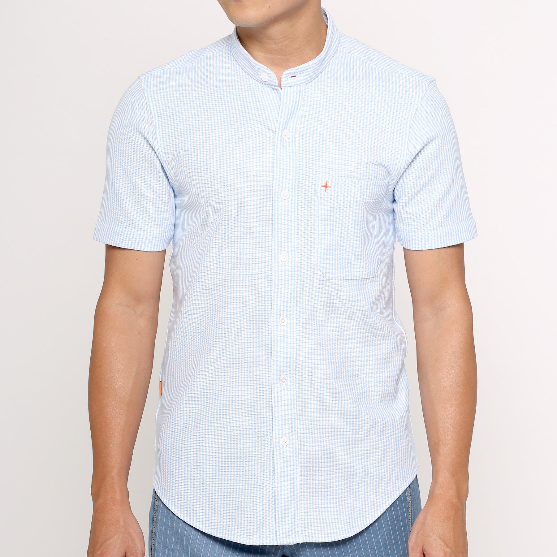 Active Mandarin Shirt - Blue Stripe