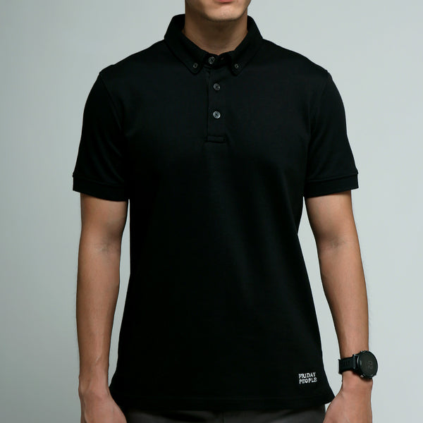 FRIDAY PEOPLE ACTIVE POLO BLACK COMFORTABLE