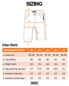 FRIDAY PEOPLE URBAN SHORTS SIZE CHART