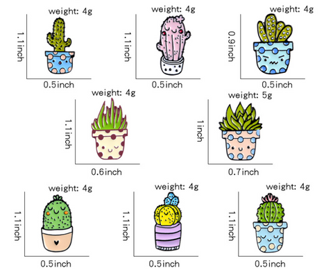 Potted Cactus Pins