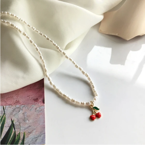 Sweet Cherry Pearl Necklace