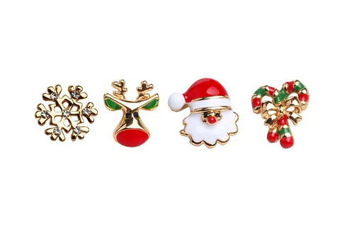 Cute Santa Mini 4-Piece Earrings