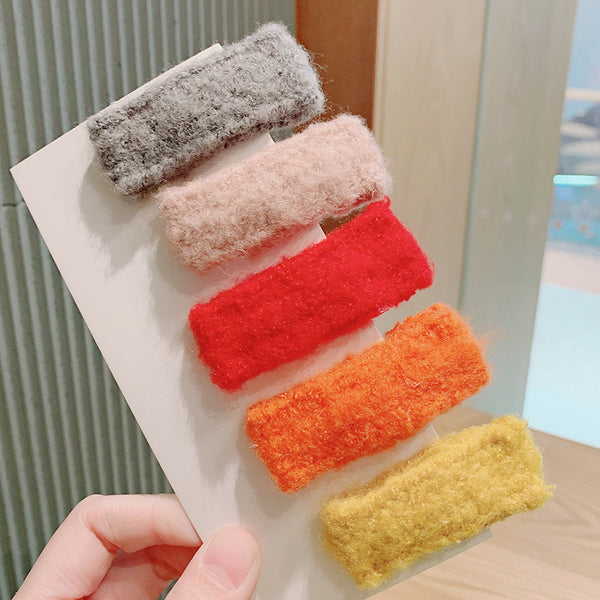 Candy Color Plush Hairclips
