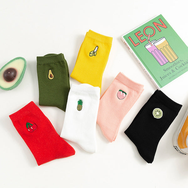 Cartton Embroidery Fruit Socks
