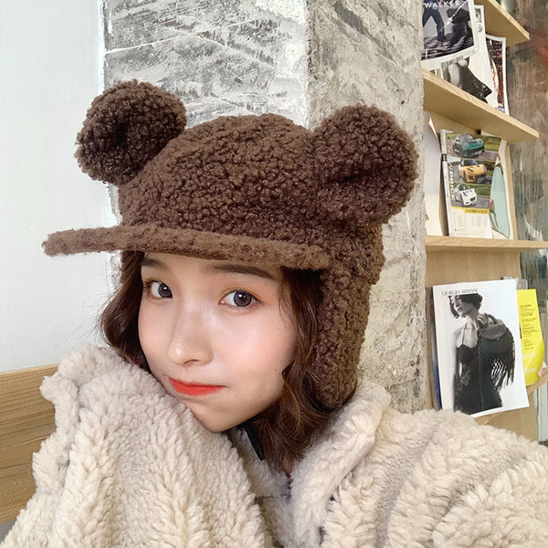 Kawaii Ear Warm Lamb Cap