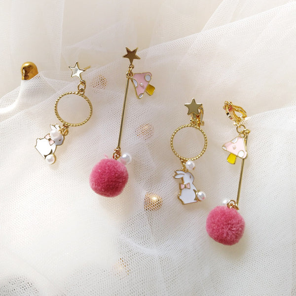 Cute Circle Hair Ball Earrings