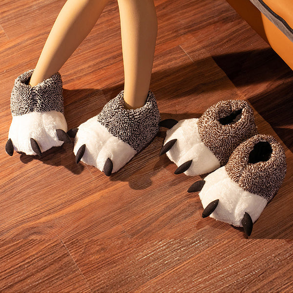 Elk Bear Claw Plush Slippers
