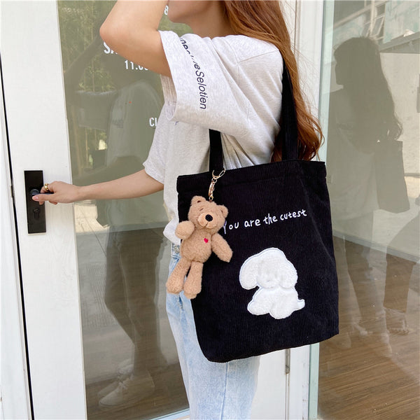Corduroy Embroidered Puppy Shoulder Bag