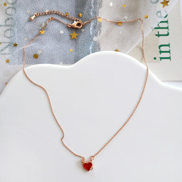 Red Heart Clavicle Necklace