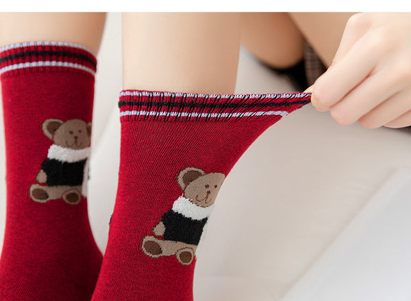 Cute Bear Cotton Socks