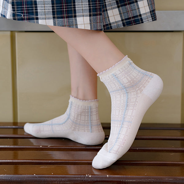 Fashion Plaid Cotton Socks