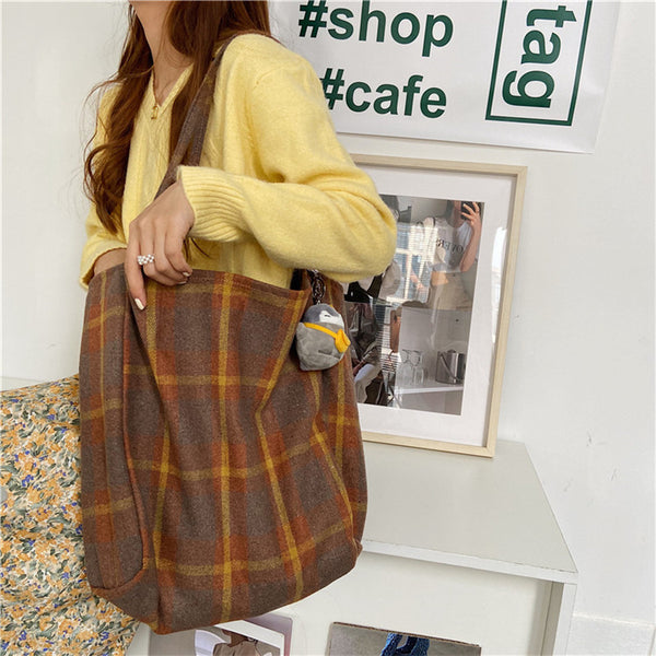 Simple Plaid Shoulder Handbag