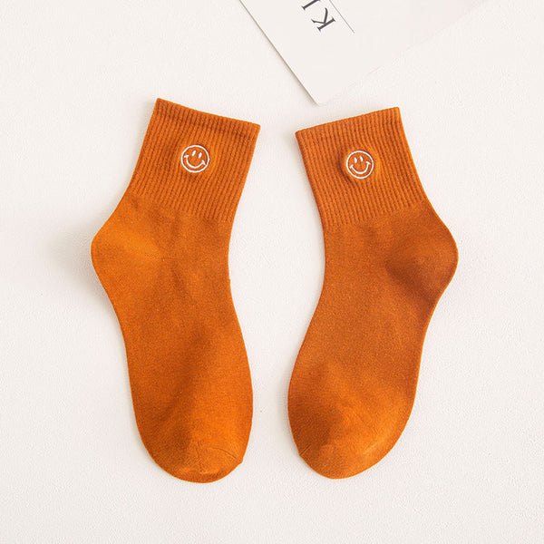 Cartoon Embroidery Smiley Socks