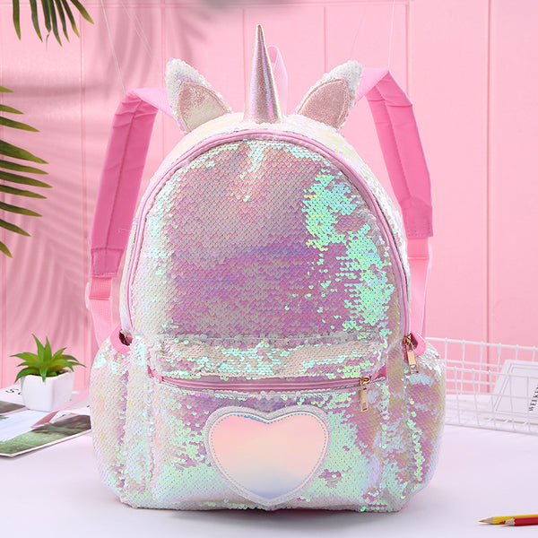 Unicorn Sequin Heart Backpack