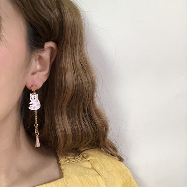 Cute Flower Cat Earrings