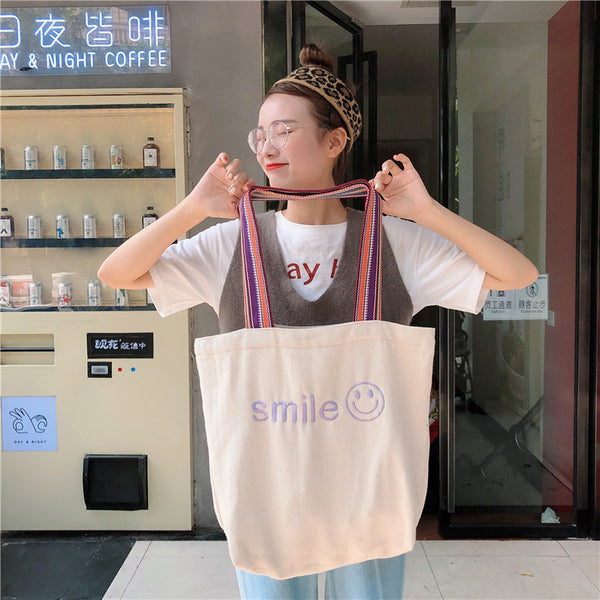 Embroidered Smiley Shoulder Bag
