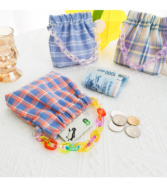 Color Plaid Chain Storage Bag
