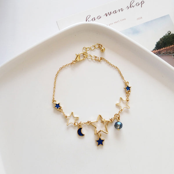 Sweet And Lovely Star Moon Bracelet