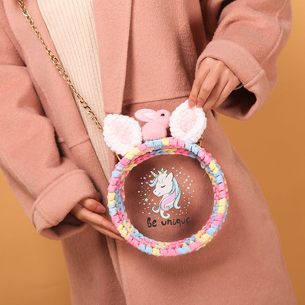 Cute Round Woven Shoulder Bag